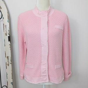 Talbots cardigan jacket pink large petite